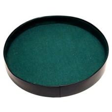 Dice-tray round 26 cm.black vinyl/green felt