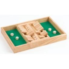 Shut the box dobbelspel Dubbel 9 34x23x4cm.
