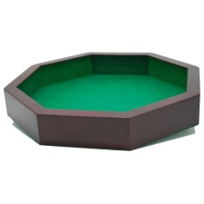 Octagonal dice tray,wood/MDF green felt 38cm.