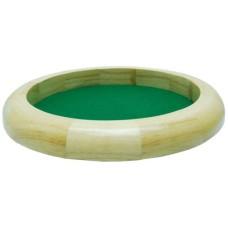 Dobbelpiste blank hout rond 30cm.groen vilt * Verwacht week 53 *