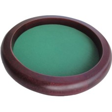 Dicetray brown wood,round 35cm.green felt