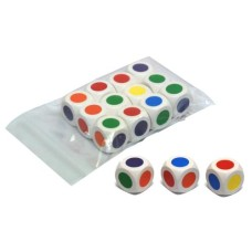 Colour-dice 6-sides 16 mm,purple 12 in bag