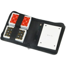 Playingcard etui double black skai luxe