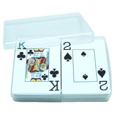 Speelkaarten doos kunststof transparant, leeg