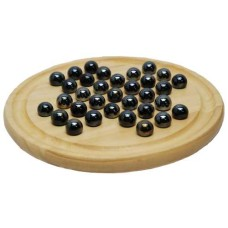 Solitair wood 22 cm.with black glass marbles