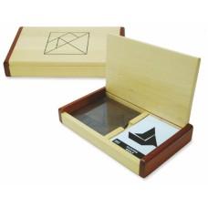 Tangram dubbel kist blank hout+60 kaart. * levertijd onbekend *