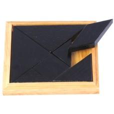 Tangram solidwood kist blank/zw.13x13cm.