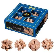 Puzzle set, 4 wooden puzzles 21x21x7.5 cm