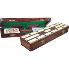 Cribbage cass.Acacia wood inlaid.brass men