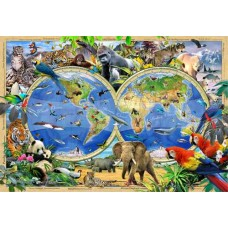 Wooden puzzle Animal Kingdom Map L 300